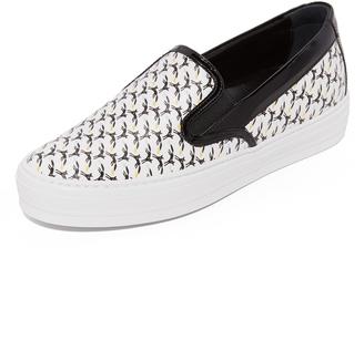Salvatore Ferragamo Printed Slip On Sneakers $495 thestylecure.com