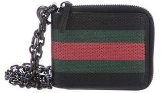Gucci Perforated Web Chain Wallet