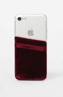 La Hearts Burgundy Velvet Phone Pocket