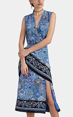 Altuzarra Women's Sade Tapestry-Print Silk Wrap Dress - Blue Pat.