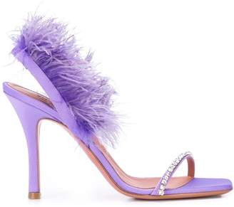 Amina Muaddi feather trim sandals