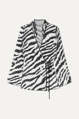Rixo Blossom Tiger-print Sequined Chiffon Wrap Top - Zebra print