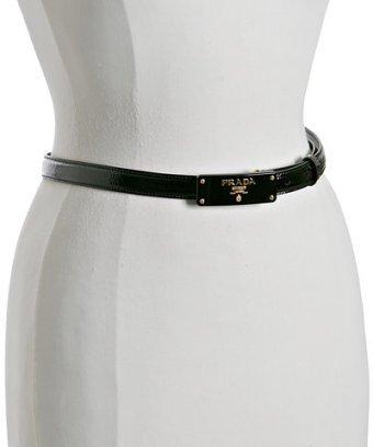 Prada black patent leather plaque detail skinny belt
