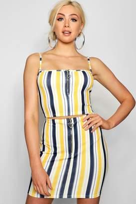 boohoo Multi Stripe Zip Crop Mini Skirt Co-ord