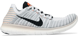 Nike - Free Rn Flyknit Sneakers - White $130 thestylecure.com