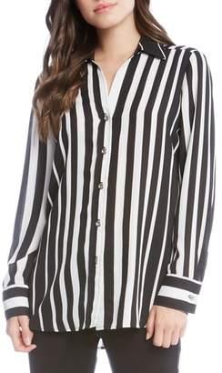 Karen Kane Side Slit Stripe Shirt