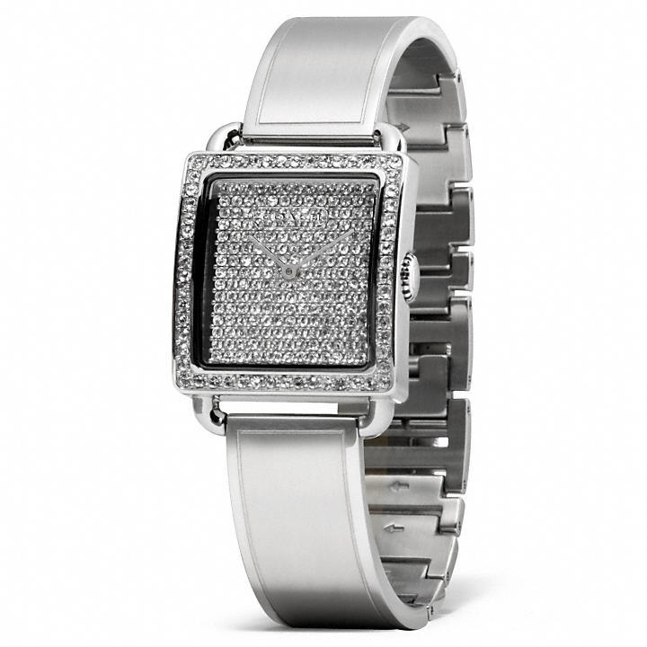 Coach Legacy Stainless Steel Pave Bangle Watch