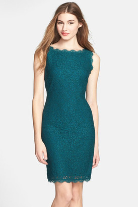 Adrianna Papell Boatneck Lace Sheath Dress (Regular & Petite) $145 thestylecure.com