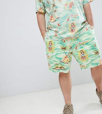 Polo Ralph Lauren Big & Tall prepster hawaiian print drawstring chino shorts player logo in green
