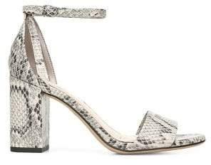 Sam Edelman Oleana Snakeskin-Print Faux Leather Ankle-Strap Sandals
