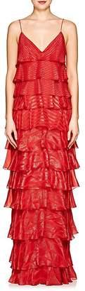 Womens Metallic Striped Silk-Blend Gown J. Mendel Y1Jsl