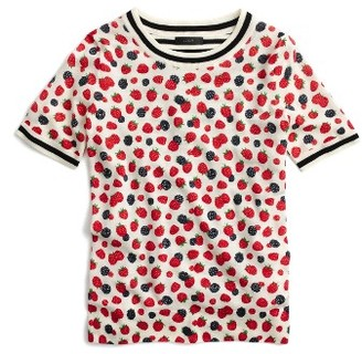 Women's J.crew Tippi Berry Print Short Sleeve Sweater $79.50 thestylecure.com
