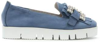 Kennel + Schmenger Kennel & Schmenger Broderie Grey Suede Embellished Flatform Loafers