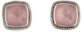 David Yurman Rose Quartz & Diamond Albion Clip-On Earrings