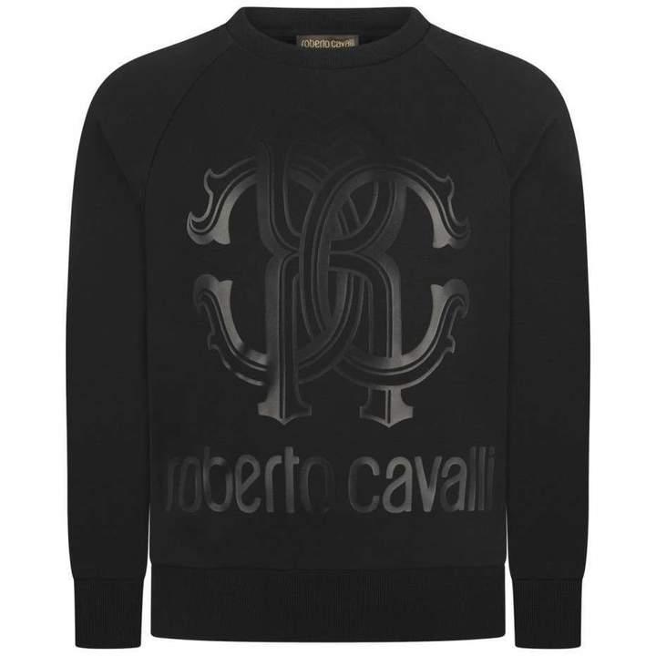 Roberto CavalliBoys Black Logo Print Sweater