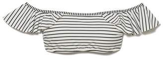 Vince Camuto Striped Off-the-shoulder Bikini Top
