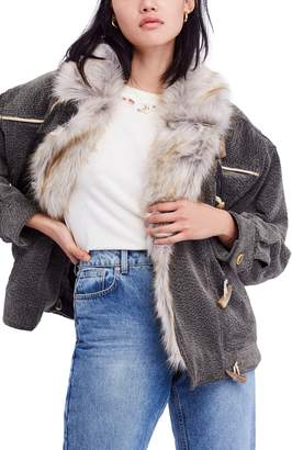 Free People Windy City Faux Fur Trim Jacket
