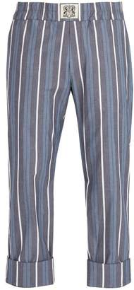 Connolly - Striped Cotton Blend Trousers - Mens - Blue