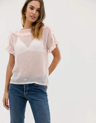 Naf Naf romantic laced woven top with ruffle details
