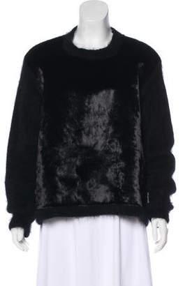 Rochas Velvet-Paneled Angora Sweater