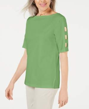Karen Scott Cutout-Sleeve Boatneck Top, Created for Macy's