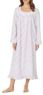 Eileen West Ruffle-Trimmed Cotton Nightgown