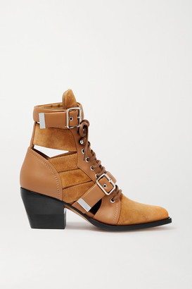 Chloé Rylee Cutout Suede And Leather Ankle Boots - Tan