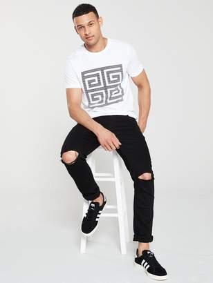 Monochrome Tile Graphic T-Shirt - White
