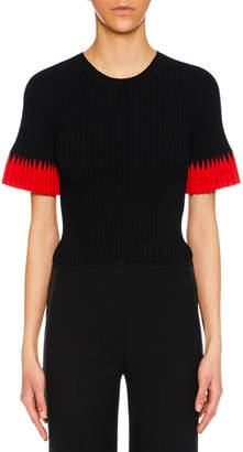 Alexander McQueen Jewel-Neck Short-Sleeve Ribbed Top w/ Contrast Tips
