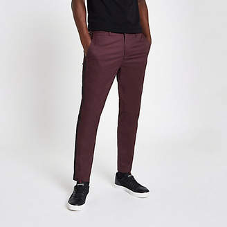 River Island Mens Dark Red tape side skinny fit chino trousers