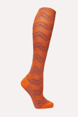 Missoni Metallic Crochet-knit Socks - Orange