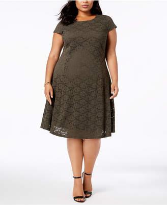 Alfani Plus Size Lace Fit & Flare Dress