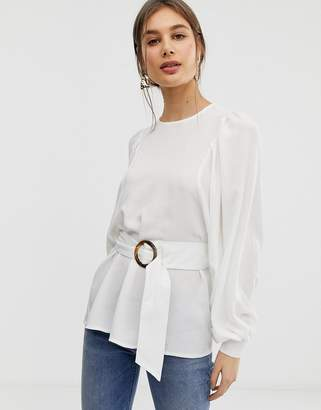 Asos Design DESIGN oversized long sleeve top with belt detail