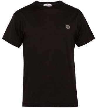 Stone Island Logo Patch Cotton T Shirt - Mens - Black