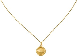 Italian Gold Circle Pendant with Chain, 14K