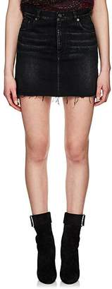 Saint Laurent Women's Frayed-Hem Denim Miniskirt - Black