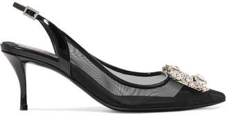 Roger Vivier Flower Strass Crystal-embellished Mesh And Patent-leather Slingback Pumps - Black