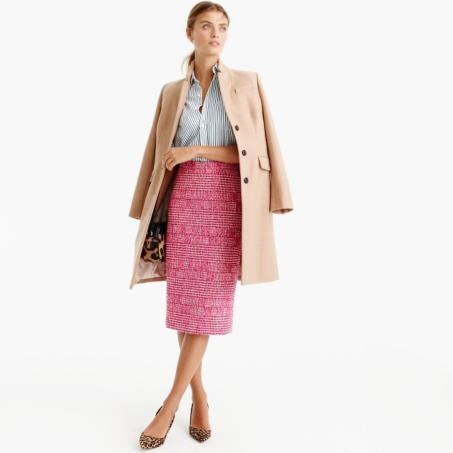 J.Crew Pencil skirt in pink houndstooth