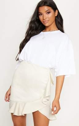 PrettyLittleThing Stone Check Frill Detail Mini Skirt