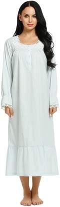 Ekouaer Women's Elegant Victorian Style Nightgowns Cotton Long Nightshirt