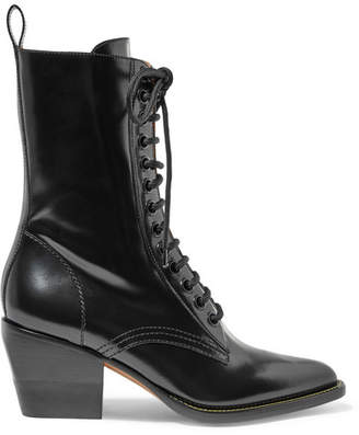 Chloé Rylee Glossed-leather Ankle Boots - Black