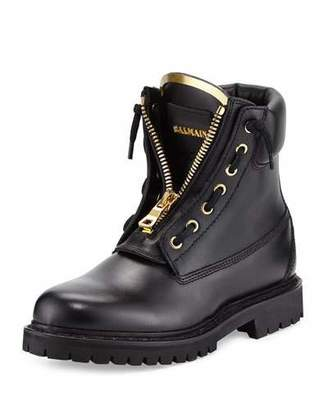 Balmain Taiga Leather Zip-Front Ranger Boot, Noir $1,025 thestylecure.com