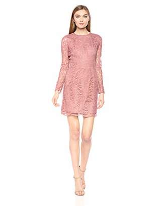 Dress the Population Women's Ash Long Sleeve Lace Short Mini Dress,XXL