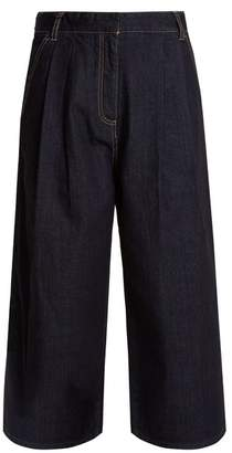 Tibi Sam Wide Leg Cropped Jeans - Womens - Dark Denim