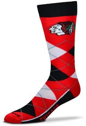 For Bare Feet Adult For Bare Feet Chicago Blackhawks Argyle Line Up Crew Socks