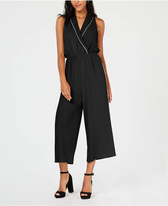 Almost Famous Juniors' Piped Collar Jumpsuit