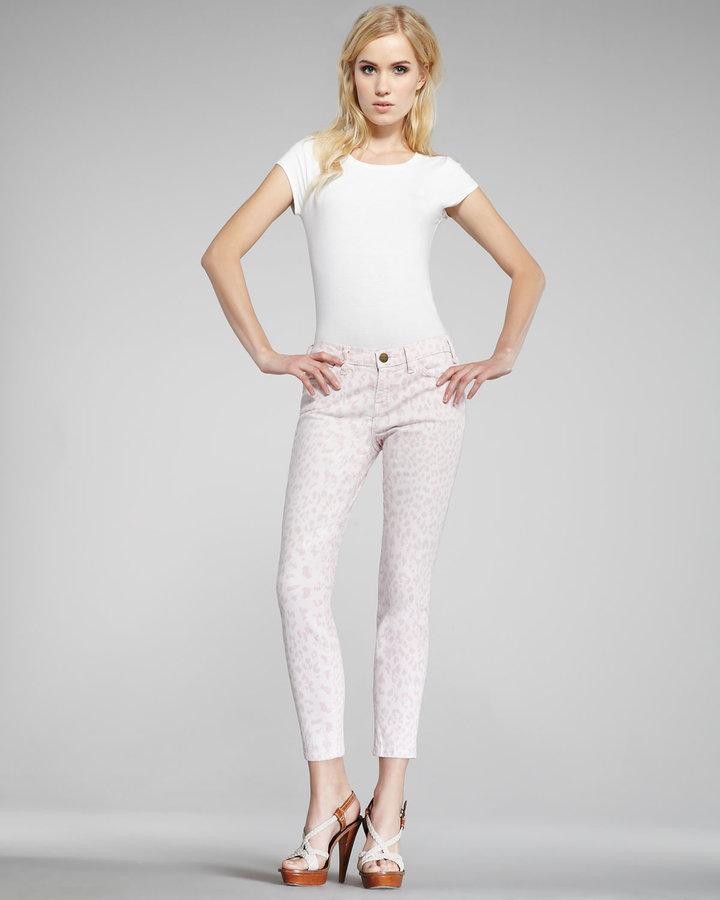Current/Elliott The Stiletto Rose Leopard-Print Jeans