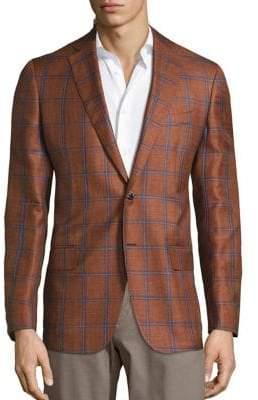 Saks Fifth Avenue COLLECTION Windowpane Wool& Silk Blend Sportcoat