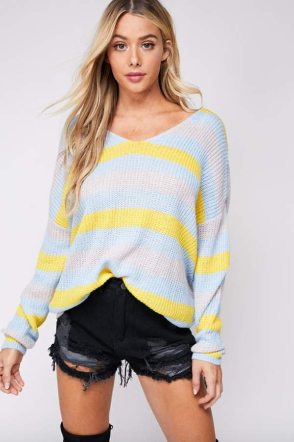 blue blush Striped Twisted Back Sweater