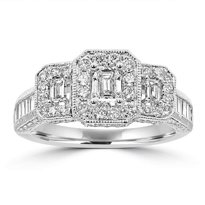 MODERN BRIDE Love Lives Forever Womens 1 3/4 CT. T.W. Multi-Shape White Diamond 14K Gold 3-Stone Ring